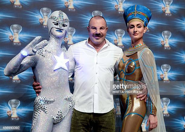 French fashion designer Thierry Mugler is pictured on October 10, 2014 in Friedrichstadt-Palace theater in Berlin after a dress rehearsal of the new...