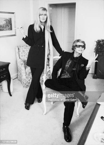 French fashion designer Yves Saint Laurent and Betty Catroux, Saint-Laurent's celebrated muse, pose for a portrait at a press event for the opening...