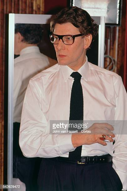 French fashion designer Yves Saint Laurent backstage during his 19901991 SpringSummer Haute Couture fashion collection