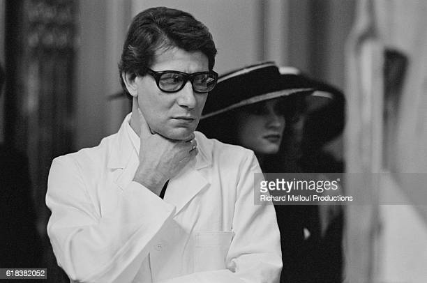 French fashion designer Yves Saint Laurent celebrates the twentieth year of his career His eponymous clothing line is internationally recognized