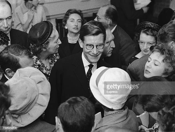 French fashion designer Yves Saint Laurent during a trip to London November 1958 He is in the UK to present the Christian Dior winter collection at...