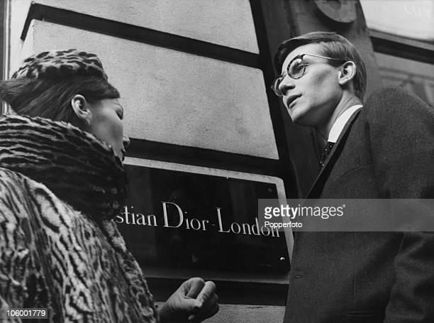 French fashion designer Yves Saint Laurent in London, 11th November 1958. He is preparing for the following day's Dior Autumn collection show to an...