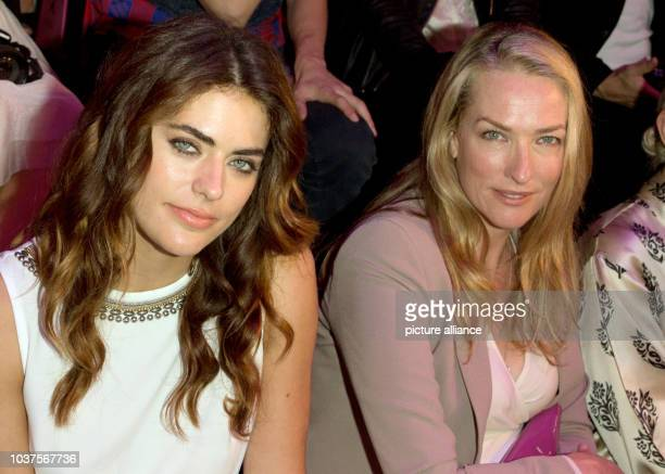 French fashion model Alyson Le Borges and German model Tatjana Patitz attend the Marc Cain show during the MercedesBenz Fashion Week in Berlin...