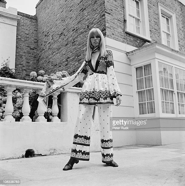French fashion model Amanda Lear in a new outfit by British designer Ossie Clark for Alice Pollock's Quorum boutique 1968 Fabric design is by Celia...
