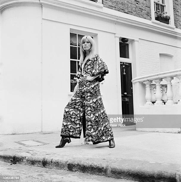 French fashion model Amanda Lear in a new outfit by British designer Ossie Clark for Alice Pollock's Quorum boutique, 1968. Fabric design is by Celia...