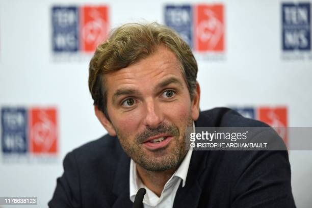 French Fed Cup team captain Julien Benneteau addresses a press conference to announce his team to take on Australia in November in Perth, at The...