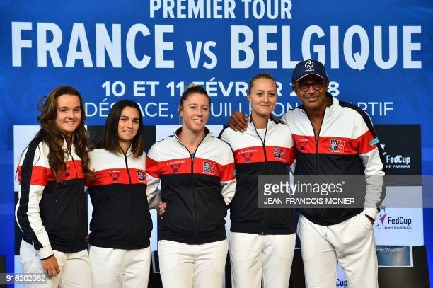French Fed Cup team Clara Burel Amandine Hesse Pauline Parmentier Kristina Mladenovic and captain Yannick Noah pose after the draw of the Federation...