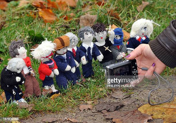 MICHEL French female blogger from Lille takes pictures of her knitted figures featuring candidates for the 2012 French presidential election Philippe...