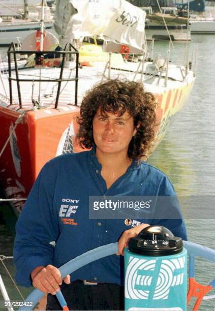 French female Captain Christine Guillou on EF Education in Ocean Village Southampton where the Whitbread Round the World Yacht Race Press Conference...