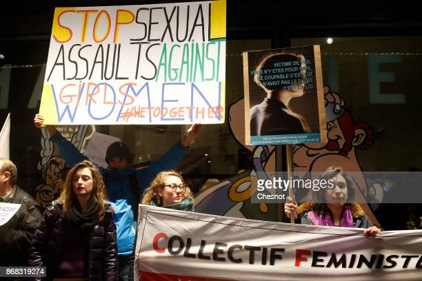 French feminist activists protest against FrenchPolish director Roman Polanski accused of a string of sexual assaults during a demonstration in front...