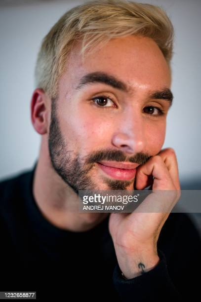 "French figure skater Guillaume Cizeron poses during an interview with AFP in his apartment in Montreal on April 30, 2021. - ""I am at peace with who I..."