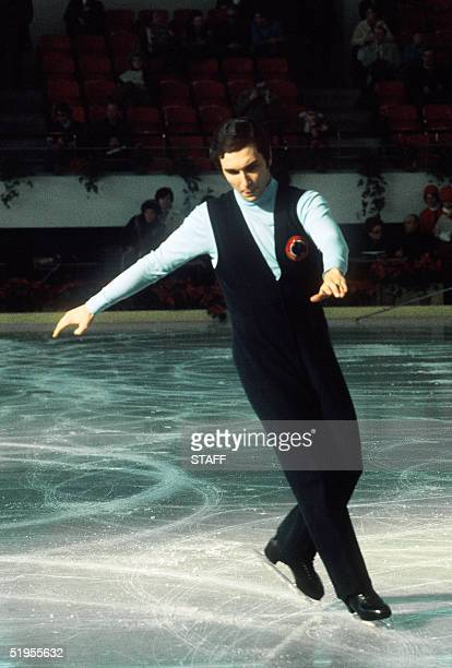 French figure skater Patrick Pera performs his routine during the men's figure skating compulsories event at the World championships in March 1971 in...