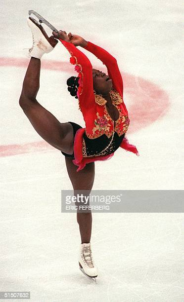 French figure skater Surya Bonaly performs her free program during the Winter Olympic Games 21 February 1992 in Albertville Bonaly finished in fifth...