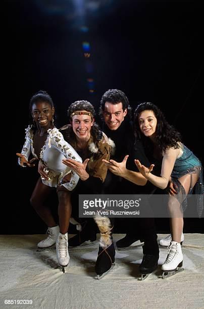 French figure skaters Surya Bonaly Philippe Candeloro Stephane Bernadis and Sarah Abitbol