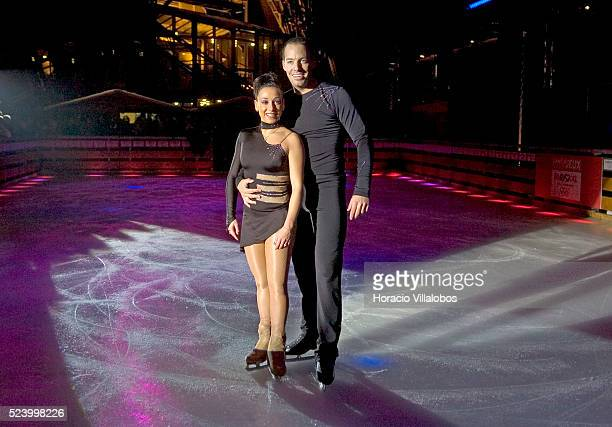 French figure skating champions Sarah Abitbol and Stephane Bernadis perform at the opening of the Eiffel Tower ice rink Sponsored by the city of...