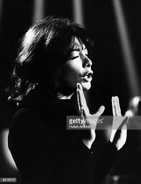 French film actress and singer Juliette Greco during a performance