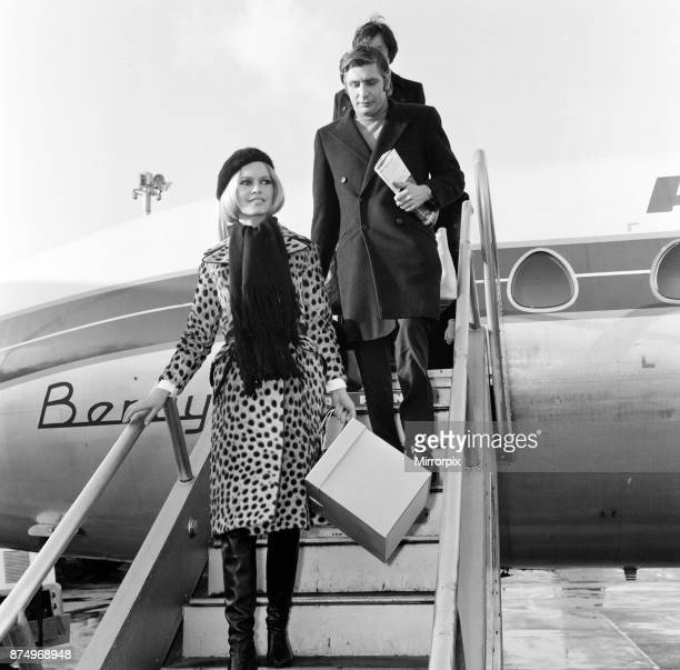 French film actress Brigitte Bardot arriving at London's Heathrow Airport with her husband Gunther Sachs She has a rrived for a costume fitting for...