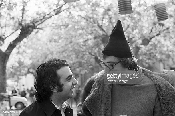French film composer Philippe Sarde and French director Bertrand Tavernier on the set of Tavernier's film Le Juge et l'Assassin | Location Ardeche...
