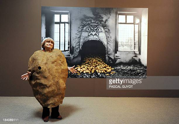 French film director Agnes Varda photographer and artist poses on November 24 2011 with Madame Patate suit created for the 2003 Venise biennial in...