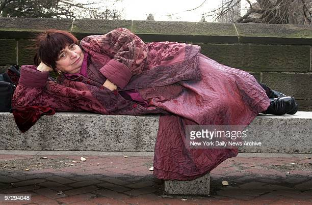 French film director Agnes Varda settles down for a rest on bench at E 61st St and Central Park She's in town to plug her movie The Gleaners and I