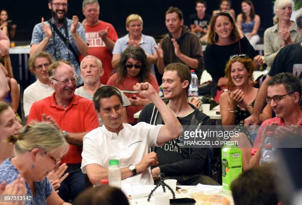 French film director and journalist candidate for La France Insoumise for the legislative elections Francois Ruffin gestures as he speaks in...