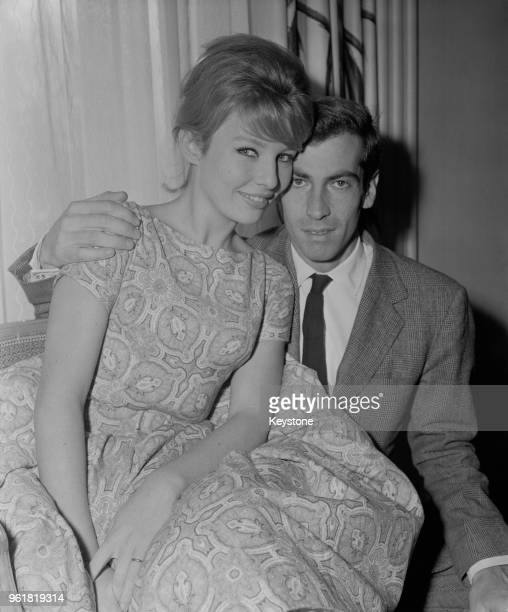 French film director and screenwriter Roger Vadim at the Savoy Hotel in London with his wife actress Annette Stroyberg 14th December 1958 She is in...