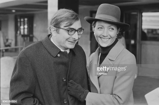 French film director Claude Chabrol with his wife French actress Stephane Audran at Heathrow Airport London UK 21st November 1968