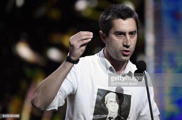 TOPSHOT French film director Francois Ruffin wearing a tshirt with the portrait of chairperson and CEO of French industrial group Bollore Group...