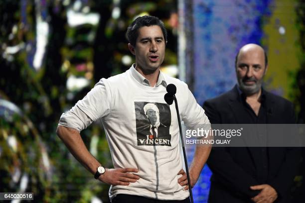 French film director Francois Ruffin wearing a tshirt with the portrait of chairperson and CEO of French industrial group Bollore Group Vincent...