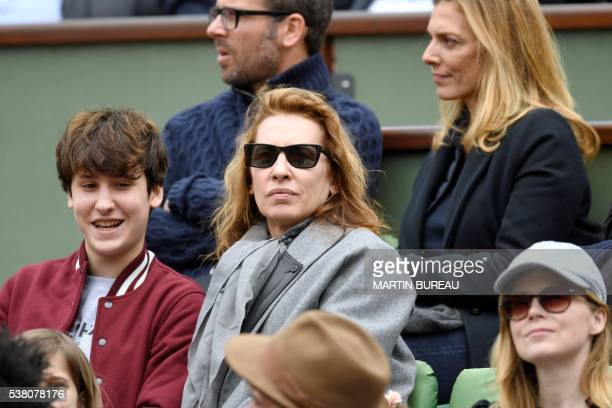 French film director Isabelle Bercot attends the women's final match between Spain's Garbine Muguruza and the US's Serena Williams at the Roland...