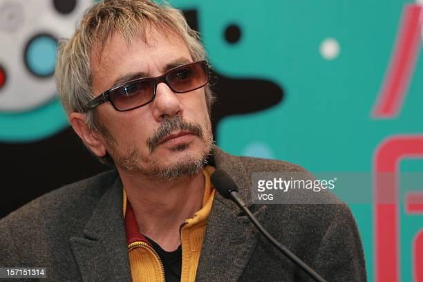 French film director Leos Carax attends 'Holy Motors' press conference on November 28 2012 in Hong Kong Hong Kong