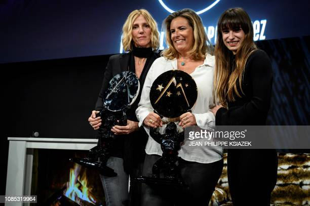 French film director Lisa Azuelos poses with French actresses Camille Claris and Sandrine Kiberlain who received the best actress award after her...