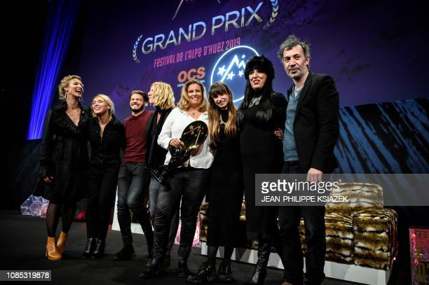 French film director Lisa Azuelos poses with members of the jury and French actresses Camille Claris and Sandrine Kiberlain who received the best...