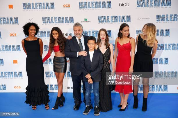 French film director Luc Besson his daughters Juliette and Shanna his wife Canadian film producer Virgine BessonSilla and their children Satine Mao...