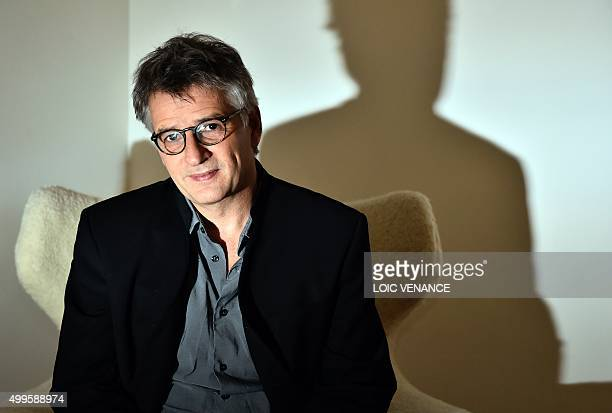 French film director Michel Leclerc poses on December 2 2015 in Paris His movie La vie tres privee de Monsieur Sim is coming out on December 16 2015...