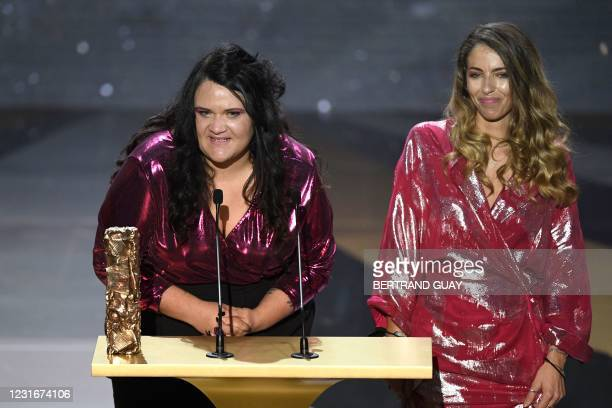 French film producer Margaux Lorier and French Moroccan film director Sofia Alaoui deliver a speech after winning the Best Short Film award for...