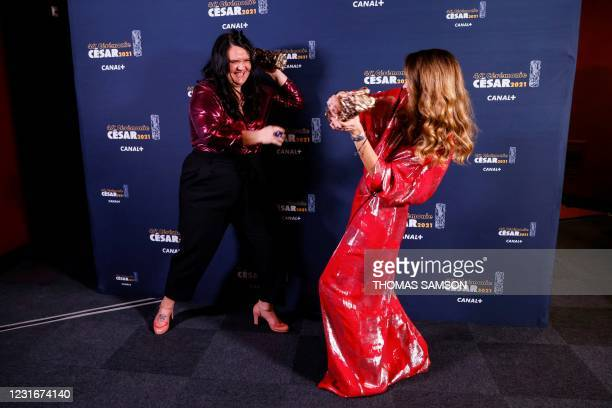 French film producer Margaux Lorier and French Moroccan film director Sofia Alaoui pose with the trophies after winning the Best Short Film award for...