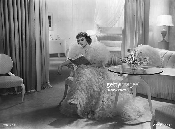 French film star Claudette Colbert formerly Lily Claudette Chauchoin in a scene from the film 'Bluebeard's Eighth Wife' Title Bluebeard's Eighth Wife...