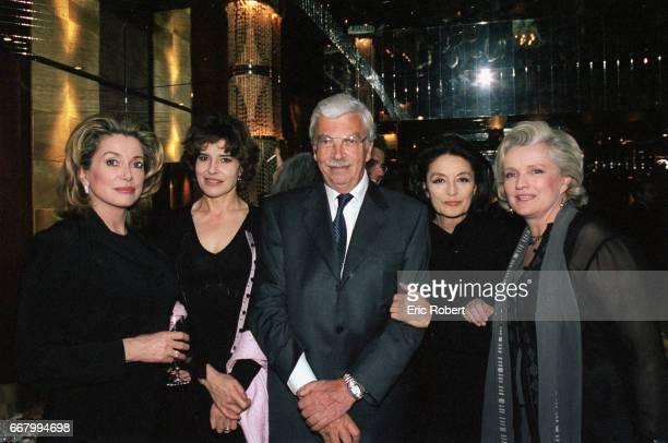 French film stars attend a benefit party for the Association pour la Vie Espoir contre le Cancer Left to right Catherine Deneuve Fanny Ardant Daniel...