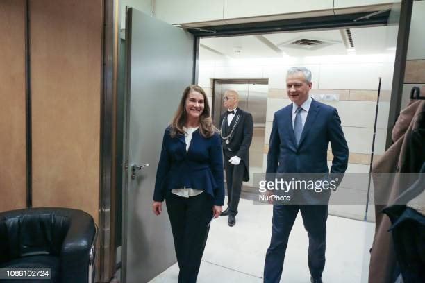French Finance and Economy Minister Bruno Le Maire and Melinda Gates coChair of the Bill and Melinda Gates Foundation arrive at the minister's office...