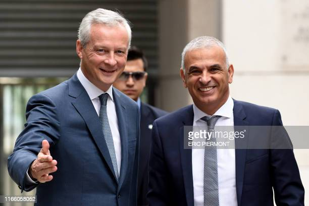 French Finance and Economy Minister Bruno Le Maire greets Israeli Minister of Finance Moshe Kahlon prior to their meeting at the Economy Ministry in...