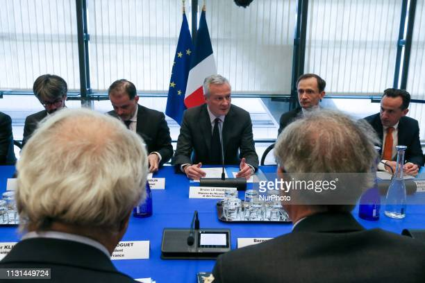 French Finance and Economy Minister Bruno Le Maire meets with representatives of professional organizations about the economic impact of the yellow...
