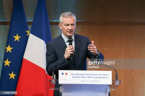 French Finance and Economy Minister Bruno Le Maire talks during a seminar on the theme « Economic reforms in France first assessment challenges and...