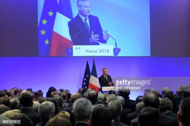 French Finance Minister Bruno Le Maire addresses his season's greetings in Paris at the Economy Ministry in Paris on January 15 2018 / AFP PHOTO /...