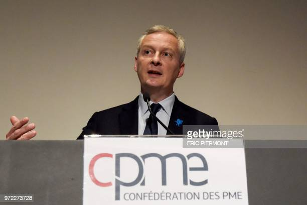 French Finance Minister Bruno Le Maire addresses the French Confederation of Small and MediumSized Enterprises forum in Paris on June 12 2018