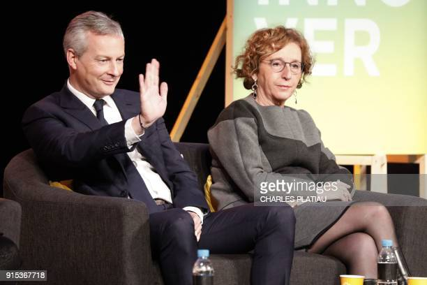 French Finance Minister Bruno Le Maire and French Labour Minister Muriel Penicaud attend the Young entrepreneurs fair in Paris on February 7 2018 /...