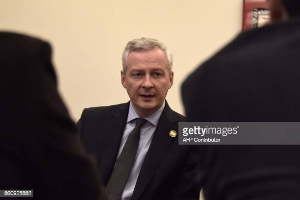 French Finance Minister Bruno Le Maire briefs a group of French journalists on the sidelines of the World Bank and International Monetary fund annual...