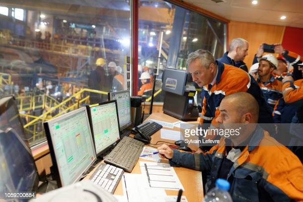 French Finance Minister Bruno Le Maire visits the Ascoval steelworks factory on November 8 2018 in SaintSaulve near Valenciennes France After more...
