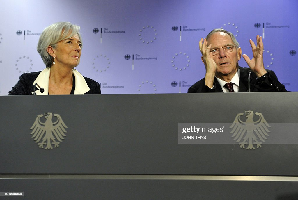 French Finance Minister Christine Lagarde (L) and German compatriot Wolfgang Schaeuble (R) give a joint press after a Task Force meeting at the EU headquarters in Brussels on May 21, 2010. European ministers headed for landmark talks on curbing overspending amid global turmoil over the eurozone debt crisis and signs of damage to economic recovery.