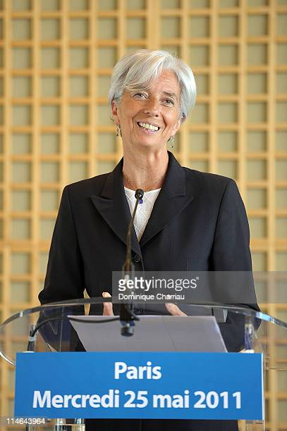 French Finance Minister Christine Lagarde announces her candidacy for International Monetary Fund presidency at Ministere des Finances on May 25 2011...